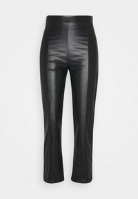 Even&Odd - HIGH WAISTED PU STRAIGHT LEG TROUSERS - Trousers - black - 5