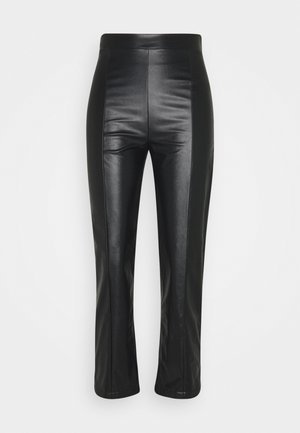 HIGH WAISTED PU STRAIGHT LEG TROUSERS - Trousers - black