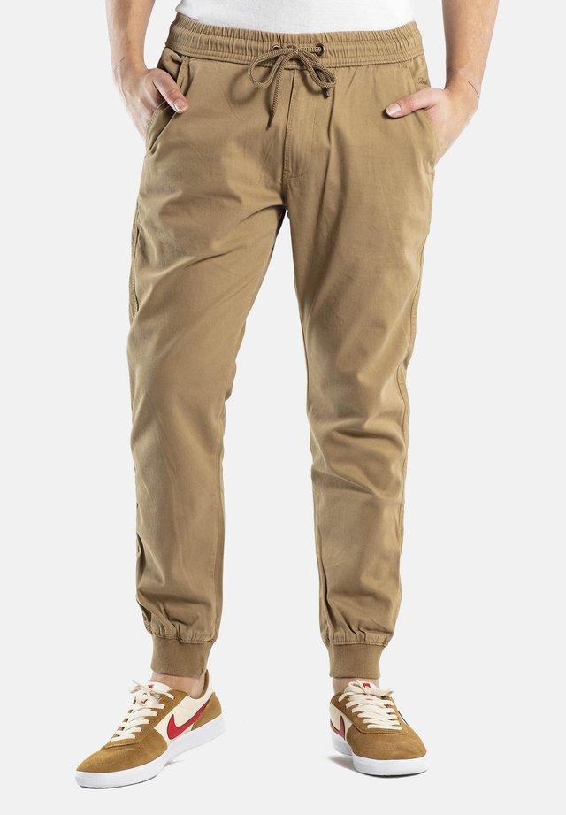REFLEX RIB - Trousers - dark sand