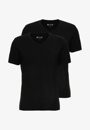 2-PACK V-NECK - T-paita - black