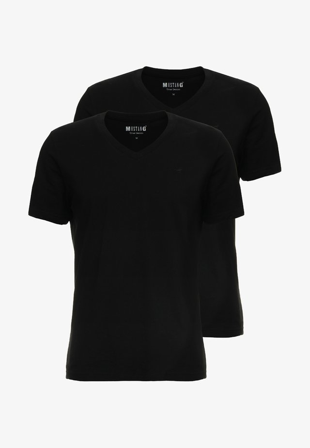 2-PACK V-NECK - T-shirts - black