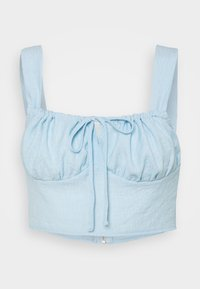 Missguided - TIE NECK GATHERED CUP CROP - Top - blue - 0