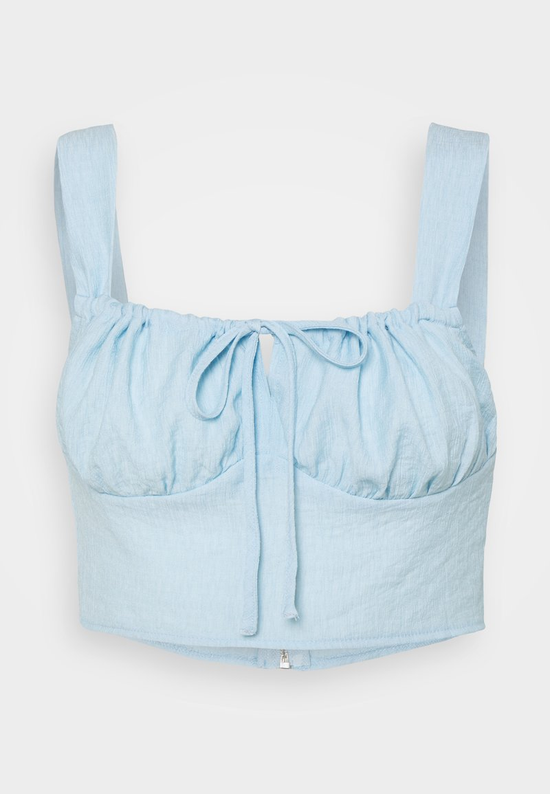Missguided - TIE NECK GATHERED CUP CROP - Top - blue