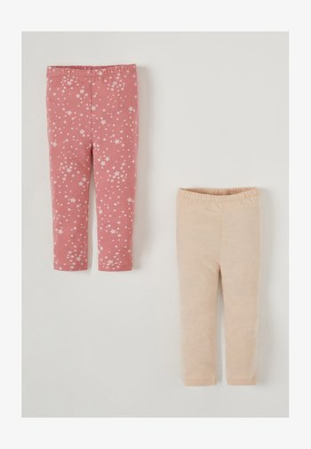2PACK - Leggings - Trousers - beige/pink