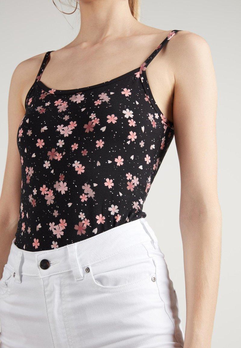 Tezenis - MIT RUNDEM AUSSCHNITT AUS ELASTISCHER BAUMWOLLE - Top - black floral print