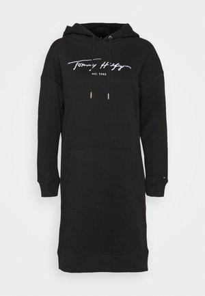 SCRIPT HOODIE DRESS - Day dress - black