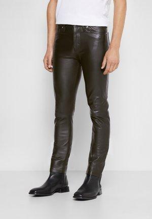 DAVID - Leather trousers - noir