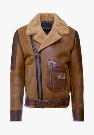 ASTER LAMMY - Leather jacket - wood brown