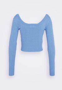 Glamorous - CARE POINTELLE CROP WITH LONG SLEEVES AND V NECK - Pullover - alaskan blue
