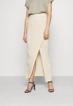 ASYMMETRIC MIDAXI SKIRT - Maxi skirt - beige