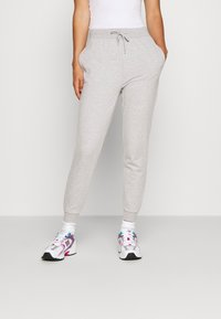 Even&Odd - 2 PACK SLIM FIT SWEATPANTS - Træningsbukser - mottled light grey/black - 1