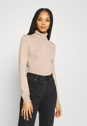 BASIC- TURTLE NECK JUMPER - Strikpullover /Striktrøjer - sand