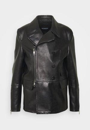 ZIP UP PEACOAT - Kožená bunda - black