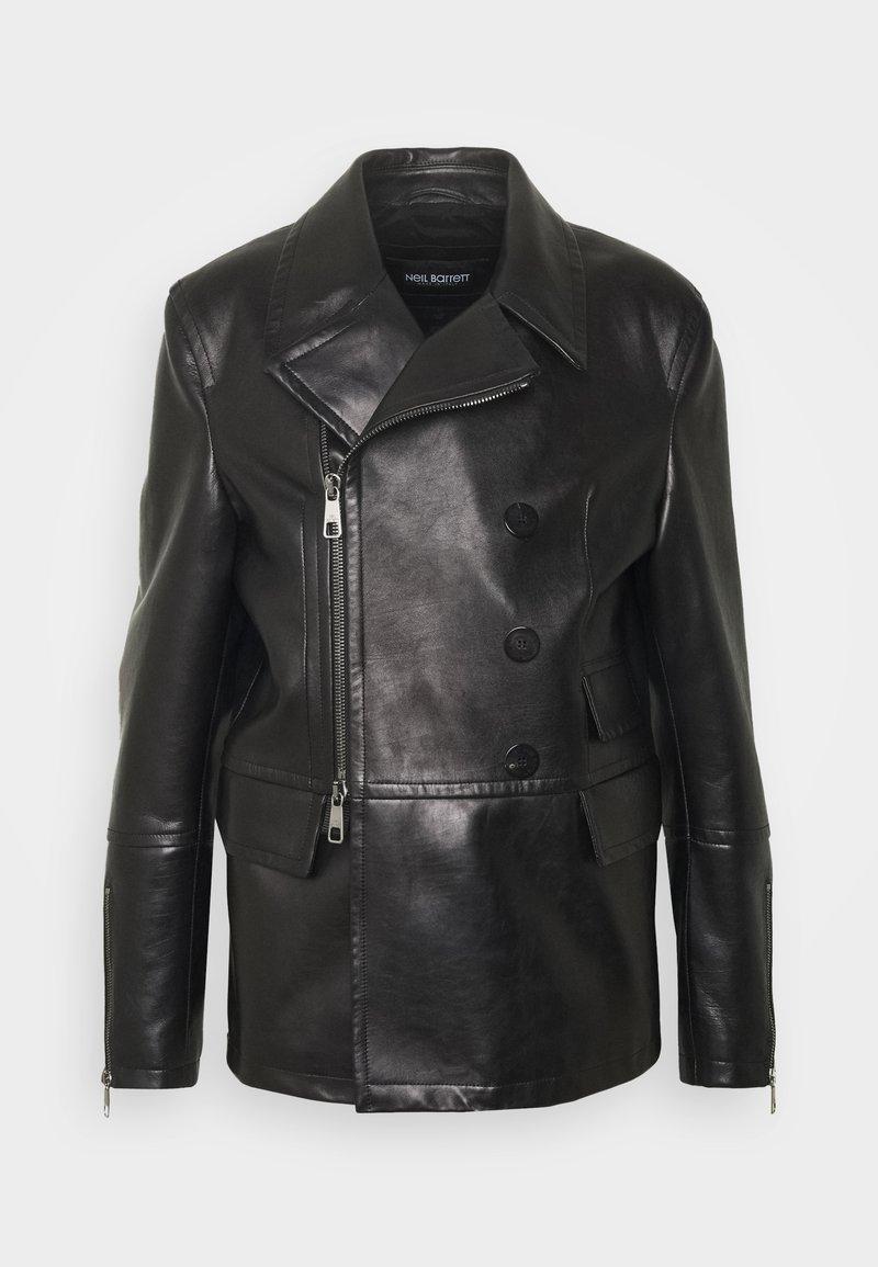 Neil Barrett - ZIP UP PEACOAT - Leather jacket - black