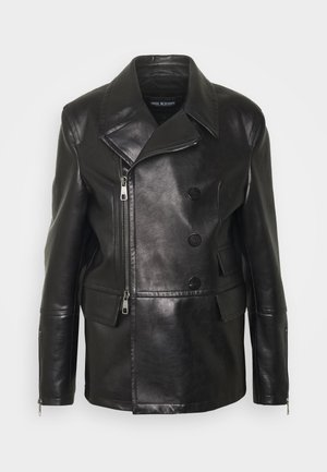 ZIP UP PEACOAT - Leather jacket - black