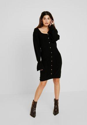 BUTTON FRONT NECK FULL SLEEVE DRESS - Abito in maglia - black