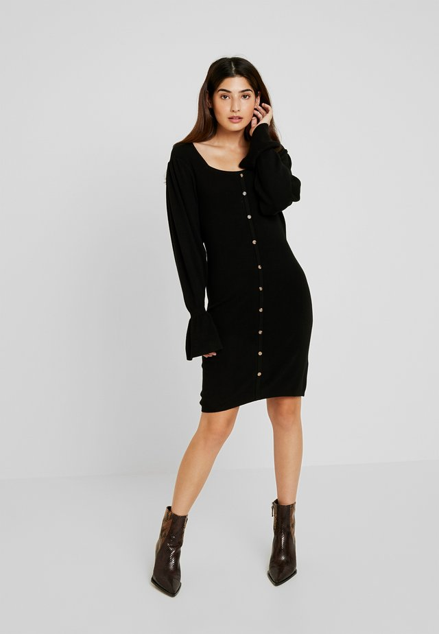 BUTTON FRONT NECK FULL SLEEVE DRESS - Stickad klänning - black