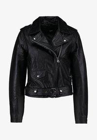 OBJNANDITA - Leather jacket - black