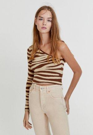 Stickad tröja - mottled light brown