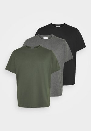 3 PACK - Basic T-shirt - khak/ grey /black
