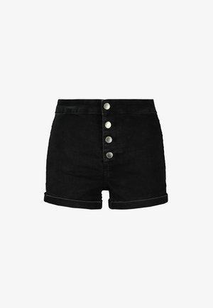 MIT KNÖPFEN - Denim shorts - black denim