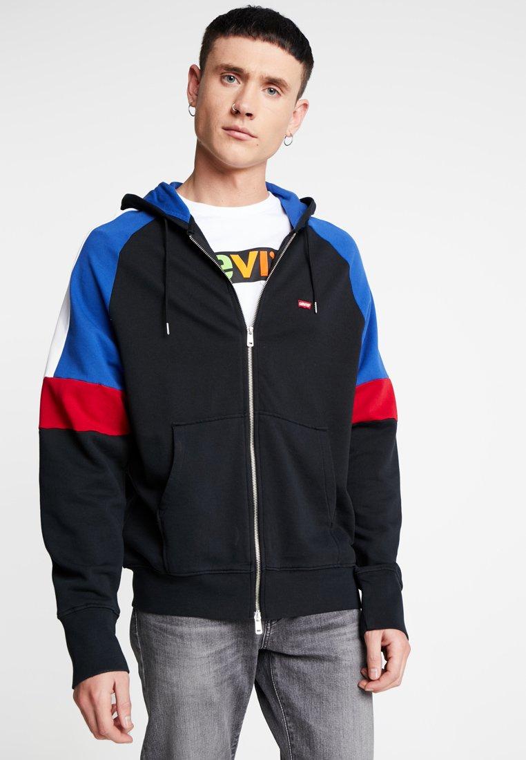 Levi's® - PIECED FULLZIP HOODIE - Collegetakki - hoodie black/ sodalite