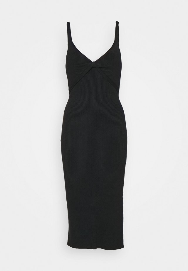 TWIST FRONT MIDI DRESS - Gebreide jurk - black