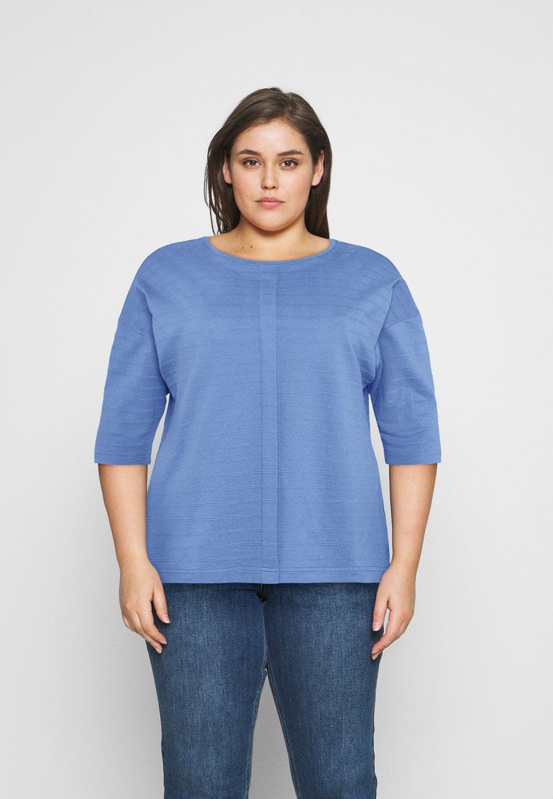 MY TRUE ME TOM TAILOR - BATWING WITH PLEAT - Print T-shirt - marina bay blue