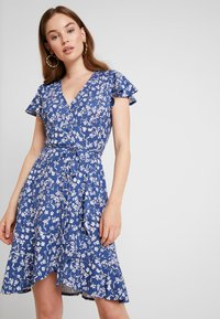 Banana Republic - WRAP PRINT DRESS - Jersey dress - indigo fog global - 0
