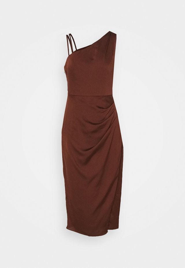 NIKKI DRAPE BACK MIDI DRESS - Cocktailkjole - chocolate