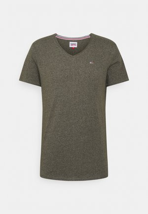 SLIM JASPE V NECK - T-shirt basic - dark olive htr