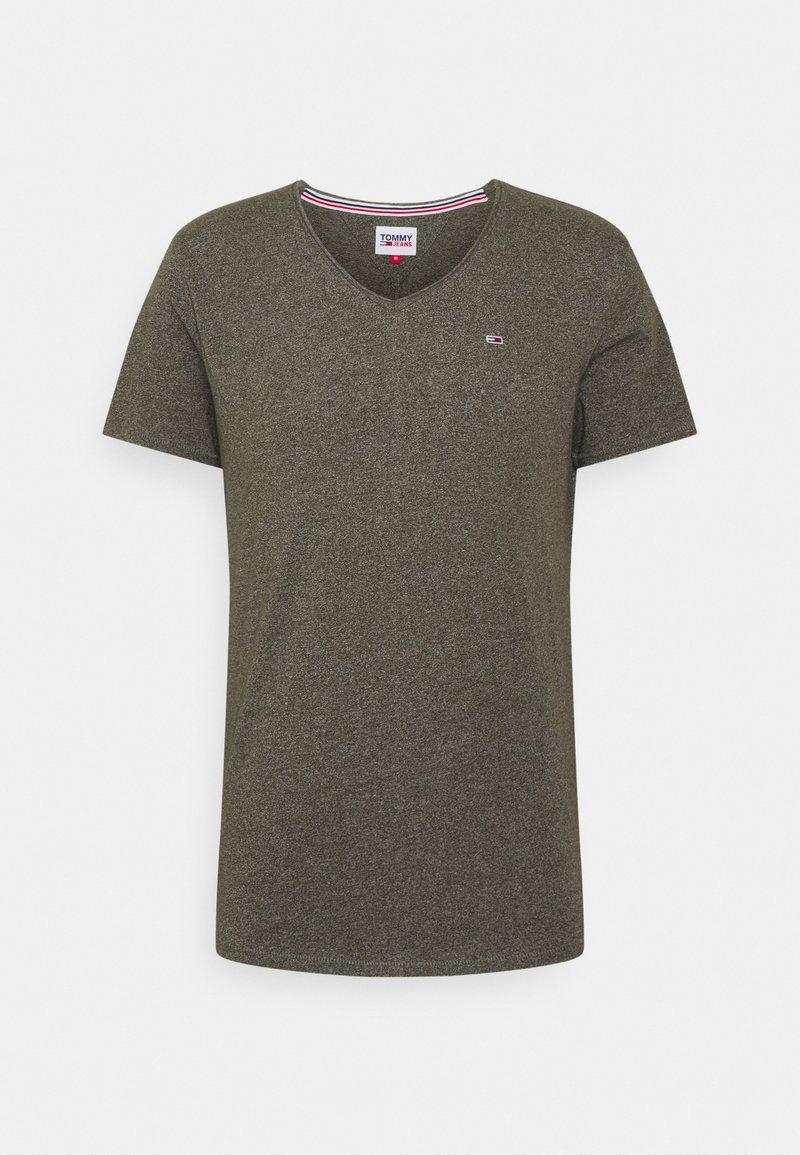 Tommy Jeans - SLIM JASPE V NECK - Basic T-shirt - dark olive htr
