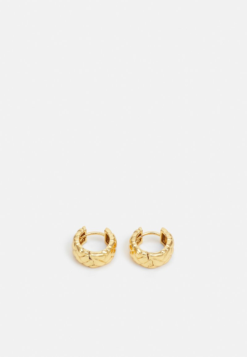 Orelia - WAFFLE CHUNKY HUGGIE HOOP EARRINGS - Earrings - pale gold-coloured