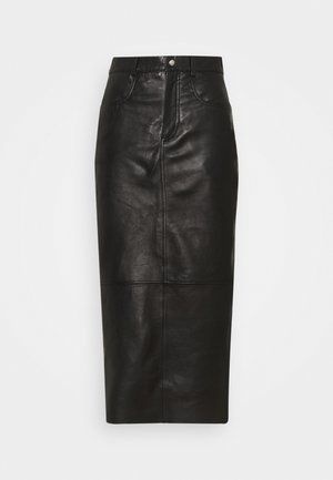 SKY - Leather skirt - black