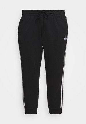 ADIDAS ESSENTIALS FRENCH TERRY 3-STRIPES PANTS (PLUS SIZE) - Tracksuit bottoms - black/white