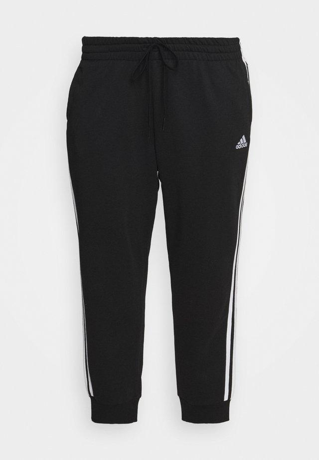 ADIDAS ESSENTIALS FRENCH TERRY 3-STRIPES PANTS (PLUS SIZE) - Teplákové kalhoty - black/white