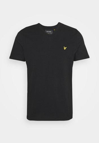 V NECK - Basic T-shirt - true black