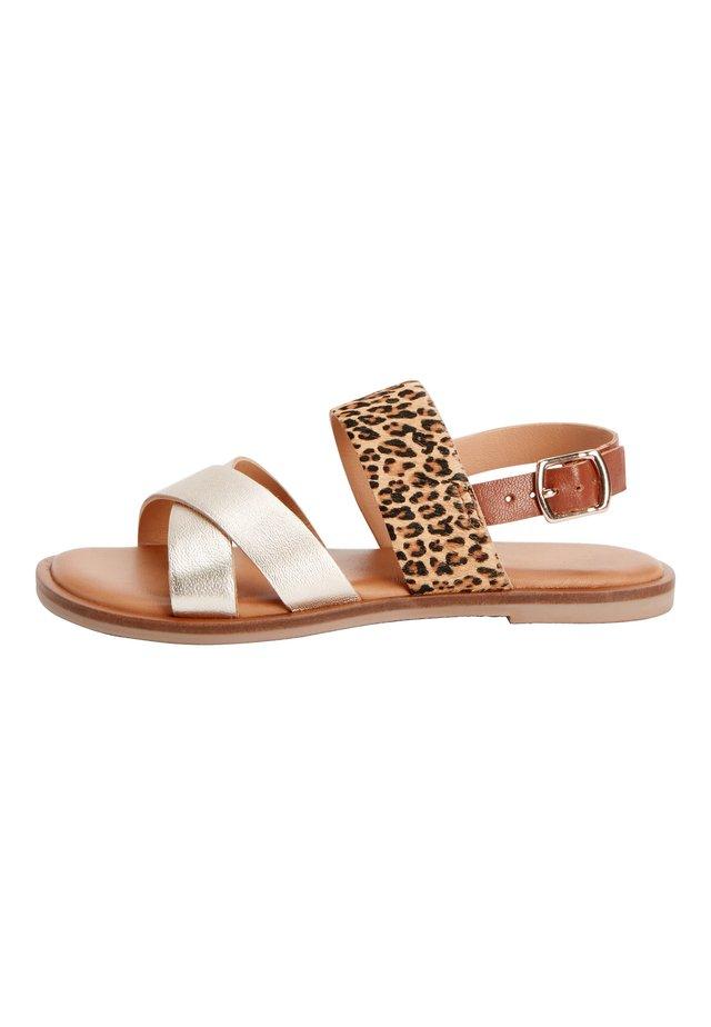 PINK/ ZEBRA CROSS STRAP SANDALS (OLDER) - Sandals - gold
