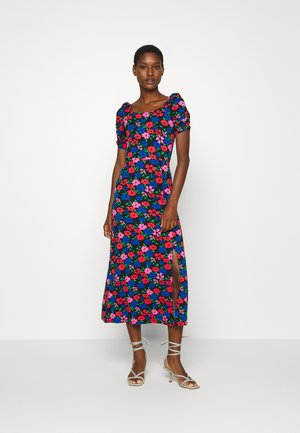 FLORAL SCOOP NECK MIDI - Vestito di maglina - multi