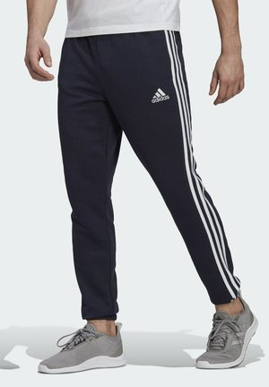 ESSENTIALS FRENCH TERRY TAPERED 3-STRIPES JOGGERS - Träningsbyxor - blue