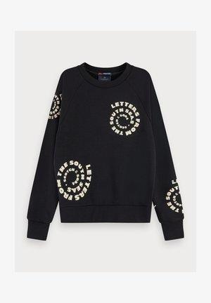 TEXTURED LONG SLEEVE ARTWORK SWEATER - Sweatshirt - black