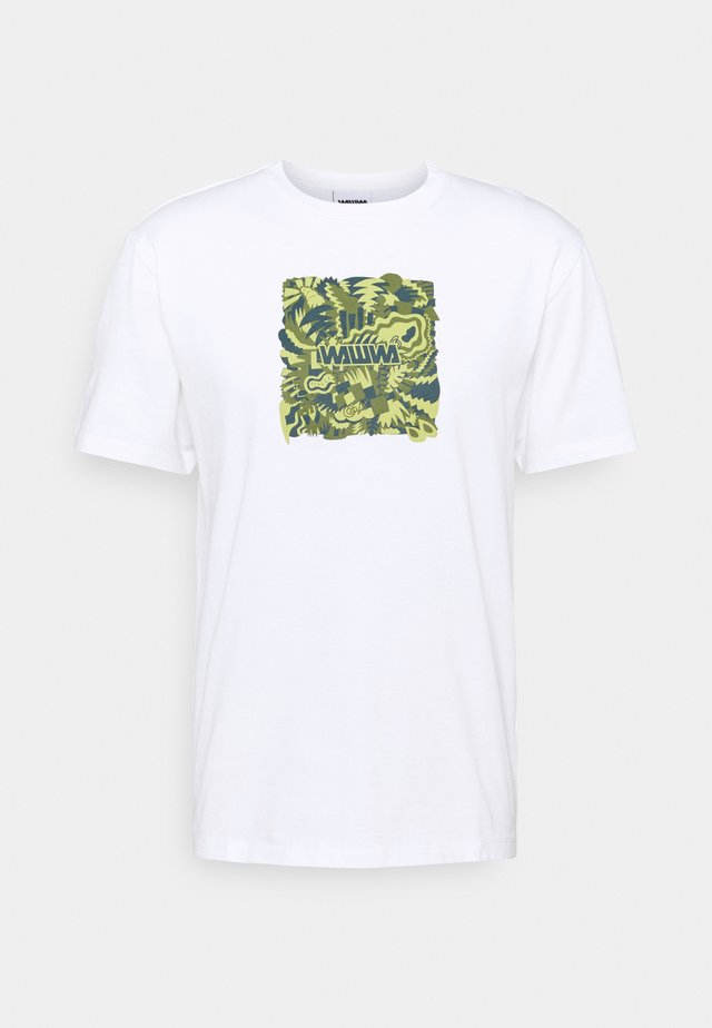 JUNGLE LOGO UNISEX - Print T-shirt - white/lime