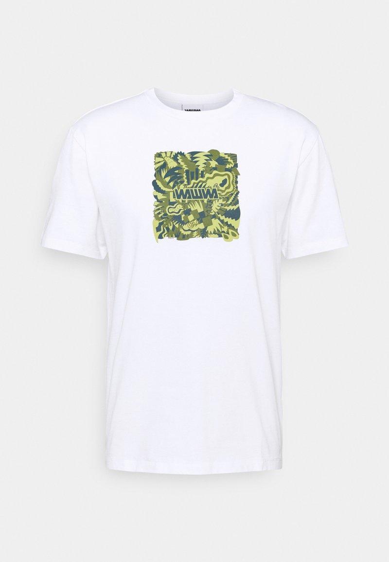 WAWWA - JUNGLE LOGO UNISEX - Print T-shirt - white/lime