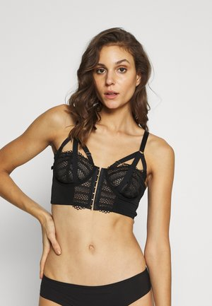 INTENSE FRONT FASTENING UNDERWIRED LONGLINE BRA - Underwired bra - black