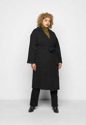 BELTED WRAP COLLAR COAT - Manteau classique - black