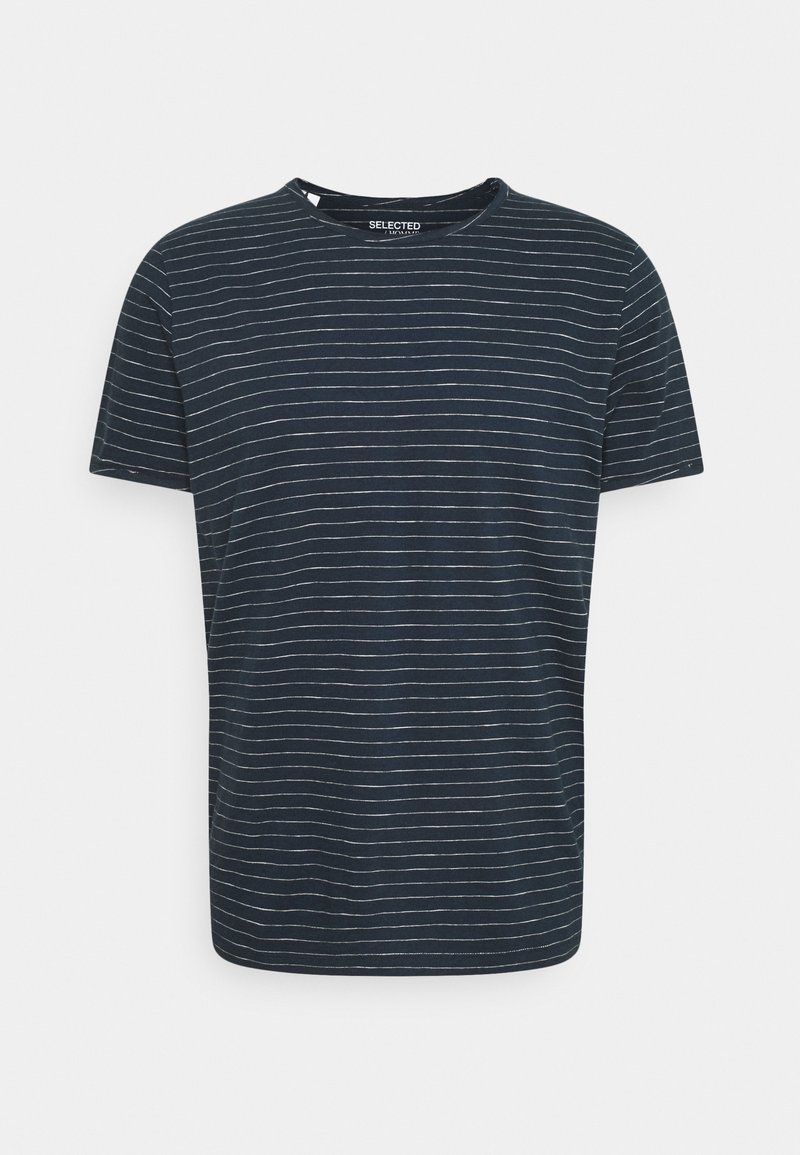 Selected Homme - SLHMORGAN STRIPE O NECK TEE - Print T-shirt - dark sapphire/egret