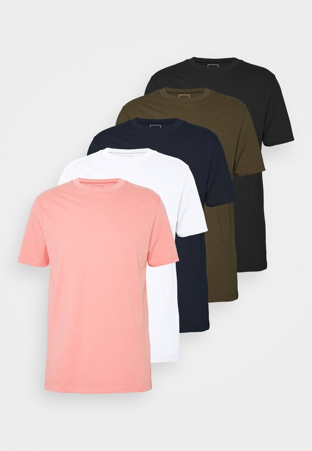 5 PACK  - T-shirts - coral/black/white