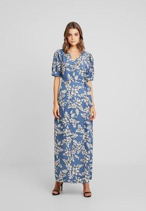 PURPOSEFUL FLORAL PUFF SLEEVES WRAP DRESS - Maxi-jurk - blue