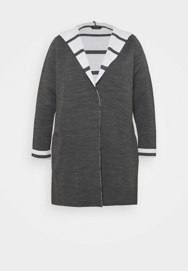 STRIPE HOODY COATIGAN - Vest - grey