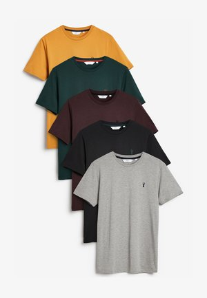 CREW NECK REGULAR FIT STAG 5 PACK - T-shirts basic - black